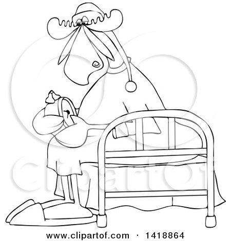 Clipart of a Cartoon Black and White Lineart Sleepy Moose Setting His Alarm Clock and Sitting on a Bed - Royalty Free Vector Illustration by djart