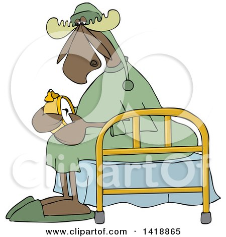 Clipart of a Cartoon Sleepy Moose Setting His Alarm Clock and Sitting on a Bed - Royalty Free Vector Illustration by djart