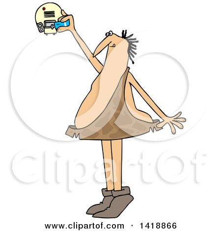 Clipart of a Cartoon Caveman Standing on His Tip Toes and Putting a Battery in a Smoke Detector - Royalty Free Vector Illustration by djart