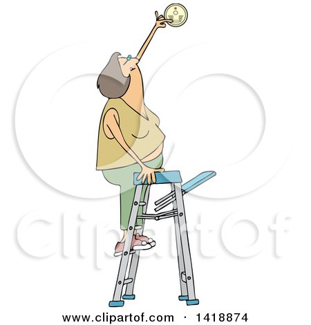 Clipart of a Cartoon Caucasian Woman Standing on a Ladder and Changing a Battery in a Smoke Detector - Royalty Free Vector Illustration by djart