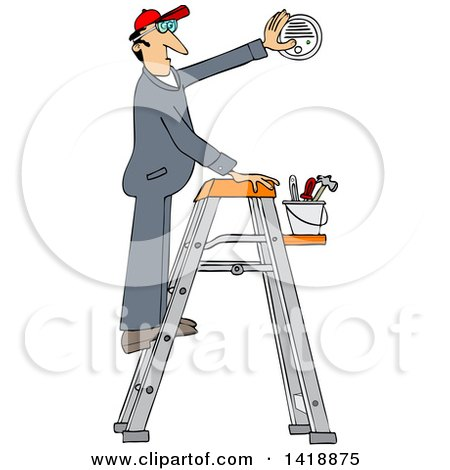 Clipart of a Cartoon Caucasian Maintenance Worker Man on a Ladder, Installing a Smoke Detector - Royalty Free Vector Illustration by djart