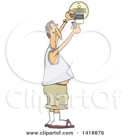 Clipart of a Cartoon Chubby Caucasian Man Putting a New Battery in a Smoke Detector - Royalty Free Vector Illustration by djart