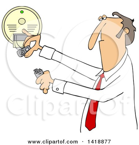 Clipart of a Cartoon Caucasian Business Man Installing a New Battery in a Smoke Detector - Royalty Free Vector Illustration by djart