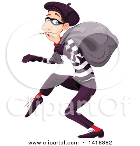 Clipart of a Sneaky French Male Burglar - Royalty Free Vector Illustration by Pushkin