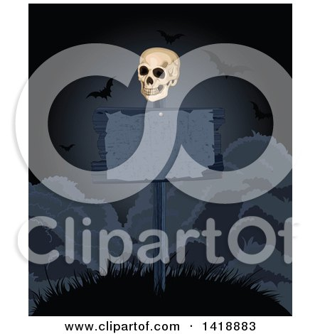 Clipart of a Human Skull on a Dark Blank Sign Post on a Hill, with Vampire Bats - Royalty Free Vector Illustration by Pushkin