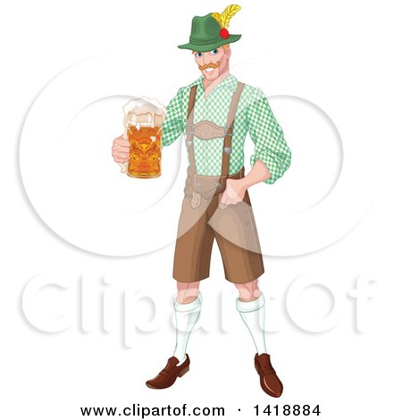 Clipart of a Handsome Oktoberfest German Man Holding out a Beer Mug - Royalty Free Vector Illustration by Pushkin