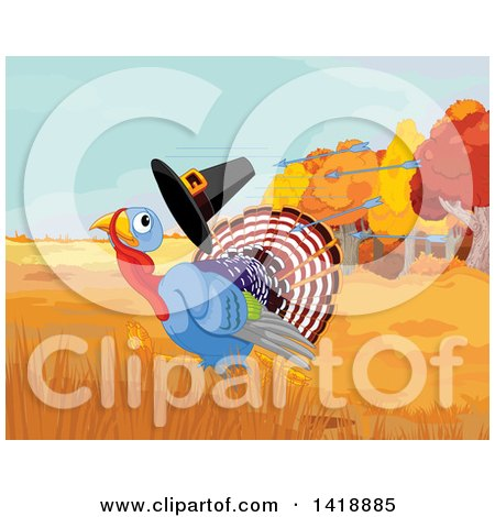 Clipart of a Cute Thanksgiving Turkey Bird Running from Arrows and Losing His Pilgrim Hat - Royalty Free Vector Illustration by Pushkin