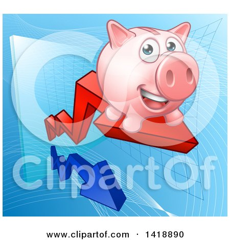 Clipart of a Happy Pink Piggy Bank Riding a Growth Stock Market Arrow - Royalty Free Vector Illustration by AtStockIllustration