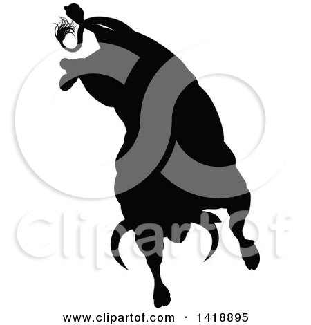 Clipart of a Silhouetted Black Bull Bucking - Royalty Free ...