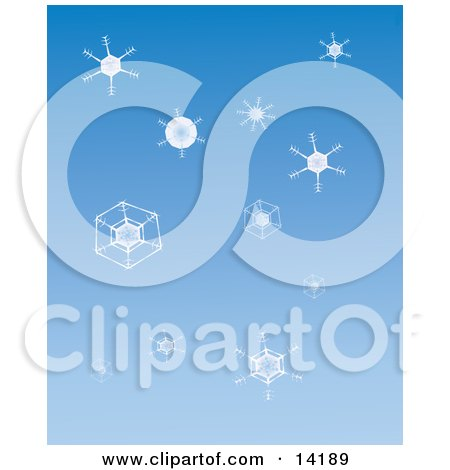 Snowflakes Over a Blue Background Clipart Illustration by Rasmussen Images