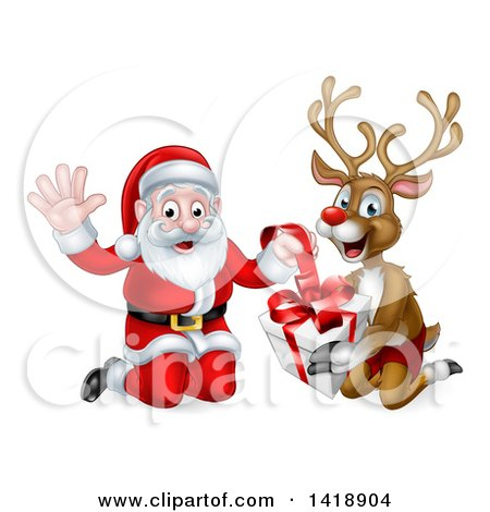 Clipart of a Happy Christmas Santa Claus and Reindeer Opening a Gift - Royalty Free Vector Illustration by AtStockIllustration