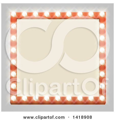 Clipart of a Square Retro Marquee Theater Sign with Light Bulbs on Gray - Royalty Free Vector Illustration by AtStockIllustration