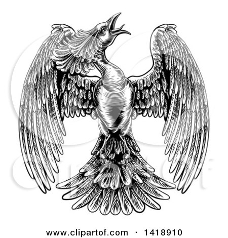 Clipart of a Black and White Woodcut or Engraved Styled Phoenix Firebird - Royalty Free Vector Illustration by AtStockIllustration