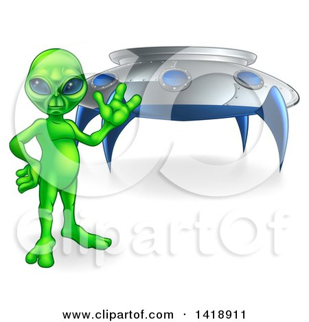 Clipart of a Green Alien Waving or Presenting by a UFO - Royalty Free Vector Illustration by AtStockIllustration