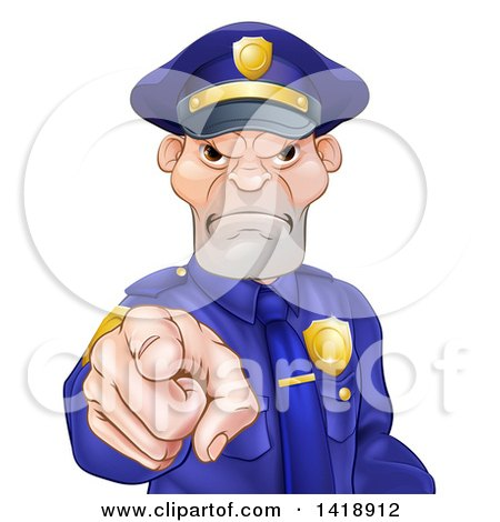 Clipart of a Tough and Angry White Male Police Officer Pointing Outwards - Royalty Free Vector Illustration by AtStockIllustration