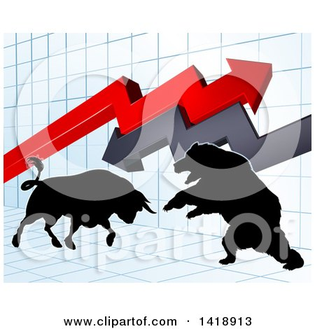 Silhouetted Bear Vs Bull Stock Market Design with Arrows over a Graph Posters, Art Prints