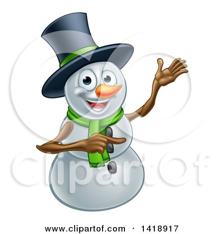 Clipart of a Presenting Christmas Snowman Wearing a Green Scarf and a Top Hat - Royalty Free Vector Illustration by AtStockIllustration