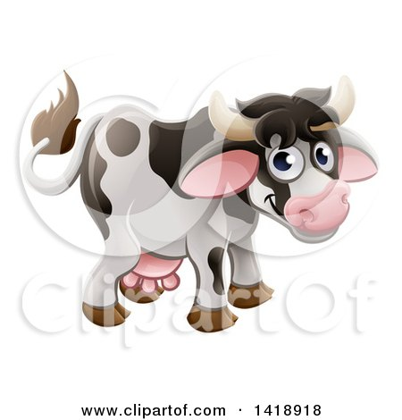 Clipart of a Cartoon Cute Happy Cow Smiling - Royalty Free Vector Illustration by AtStockIllustration
