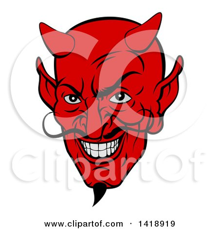 Clipart of a Grinning Red Devil Face with a Goatee and Curling Mustache - Royalty Free Vector Illustration by AtStockIllustration
