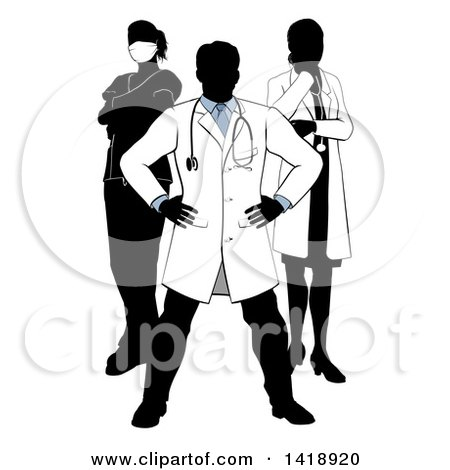 Clipart of a Faceless Silhouetted Male Doctor Wearing a Lab Coat, Standing with Hands on His Hips, with His Team Behind Him - Royalty Free Vector Illustration by AtStockIllustration