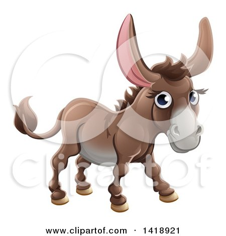Clipart of a Cartoon Happy Cute Donkey - Royalty Free Vector Illustration by AtStockIllustration