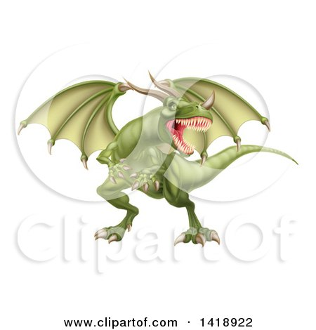 Clipart of a Mad Green Dragon with a Horned Nose - Royalty Free Vector Illustration by AtStockIllustration