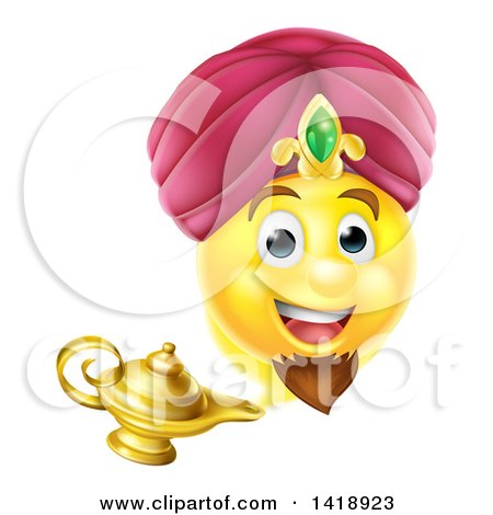 Clipart of a Smiley Emoji Emoticon Genie Emerging from a Lamp - Royalty Free Vector Illustration by AtStockIllustration