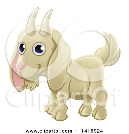 Clipart of a Cartoon Happy Cute White Goat - Royalty Free Vector Illustration by AtStockIllustration