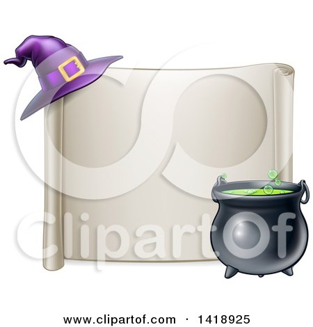 Clipart of a Horizontal Blank Scroll Sign with a Boiling Cauldron and Purple Witch Hat - Royalty Free Vector Illustration by AtStockIllustration