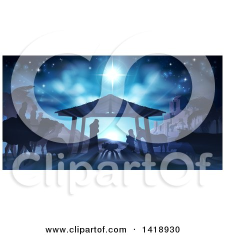 Clipart of a Blue Toned Nativity Scene with Animals, Wise Men, the City of Bethlehem and Star of David - Royalty Free Vector Illustration by AtStockIllustration