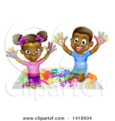 Cartoon Happy Black Girl and Boy Kneeling and Finger Painting Artwork Posters, Art Prints