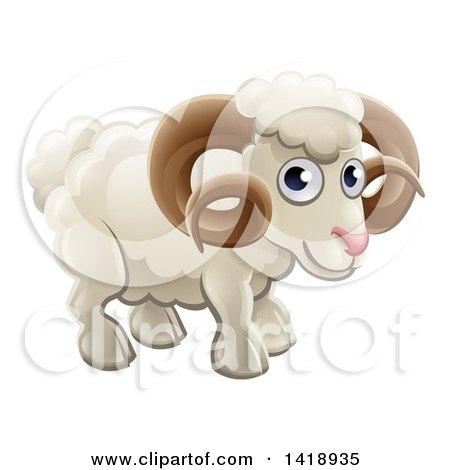 Clipart of a Cartoon Happy Cute Ram - Royalty Free Vector Illustration by AtStockIllustration