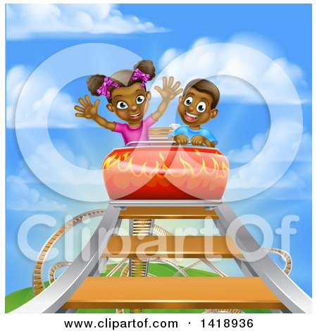 Clipart of a Happy Black Boy and Girl at the Top of a Roller Coaster Ride, Against a Blue Sky with Clouds - Royalty Free Vector Illustration by AtStockIllustration