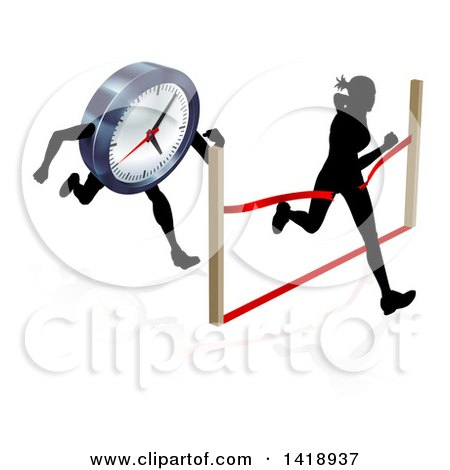 Clipart of a Silhouetted Woman Sprinting Through a Finish Line Before a Clock Character - Royalty Free Vector Illustration by AtStockIllustration