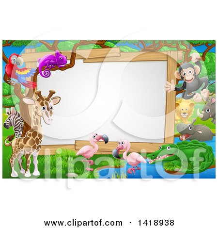 Clipart of a African Safari Sign with Cute Animals at a Watering Hole - Royalty Free Vector Illustration by AtStockIllustration