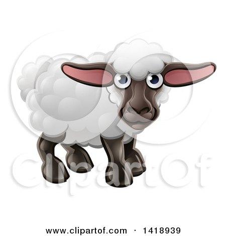 Clipart of a Cartoon Happy Cute Sheep - Royalty Free Vector Illustration by AtStockIllustration