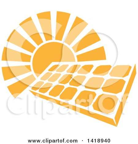 Clipart of a Shining Orange Sun Behind a Solar Panel Photovoltaics Cell - Royalty Free Vector Illustration by AtStockIllustration