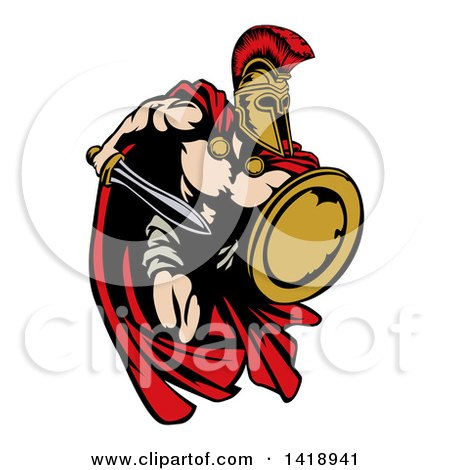 Clipart of a Spartan Trojan Warrior Mascot Sprinting with a Sword and Shield - Royalty Free Vector Illustration by AtStockIllustration