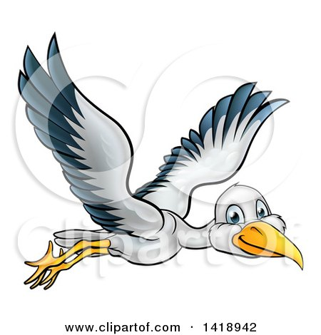 Clipart of a Cartoon Happy Stork Bird in Flight - Royalty Free Vector Illustration by AtStockIllustration