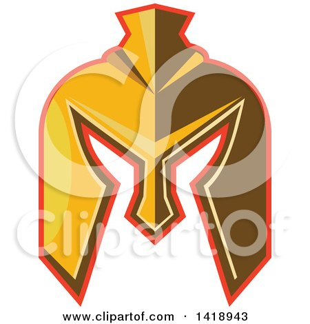 Clipart of a Retro Golden Spartan Helmet with a Red Outline - Royalty Free Vector Illustration by patrimonio