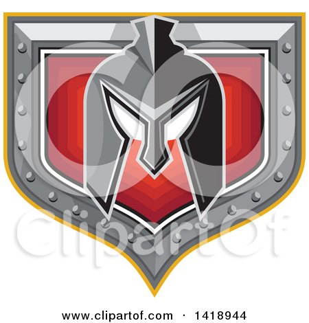 Clipart of a Retro Spartan Helmet over a Silver and Red Shield - Royalty Free Vector Illustration by patrimonio