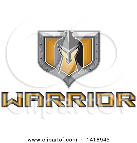 Clipart of a Retro Spartan Helmet over a Silver and Gold Shield and Warrior Text - Royalty Free Vector Illustration by patrimonio
