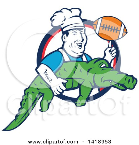 Clipart of a Retro Male Chef Twirling a Football on His Finger and Carrying an Alligator - Royalty Free Vector Illustration by patrimonio