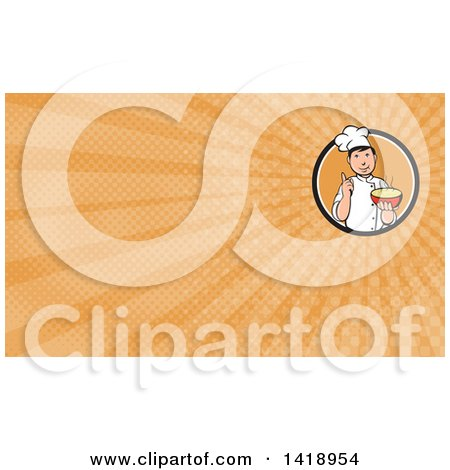 Clipart of a Retro Chef Holding up a Finger and a Bowl of Hot Noodle Soup and Orange Rays Background or Business Card Design - Royalty Free Illustration by patrimonio