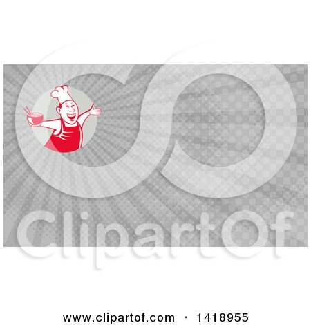 Clipart of a Retro Chef Holding a Bowl of Hot Noodle Soup and Dancing and Gray Rays Background or Business Card Design - Royalty Free Illustration by patrimonio