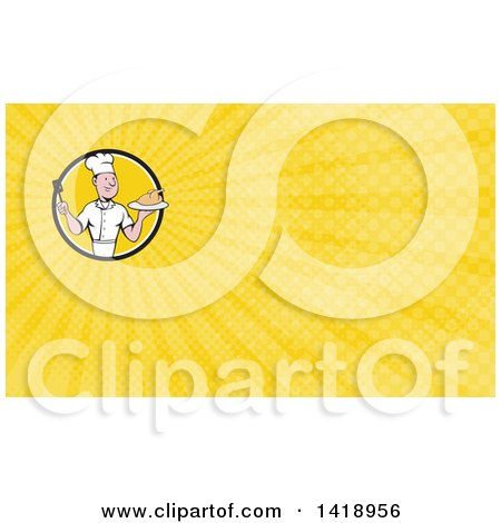 Clipart of a Retro Cartoon White Male Chef Holding a Spatula and Serving a Roasted Chicken and Yellow Rays Background or Business Card Design - Royalty Free Illustration by patrimonio