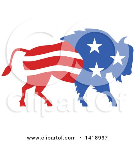 Clipart of a Retro American Stars and Stripes Buffalo - Royalty Free Vector Illustration by patrimonio