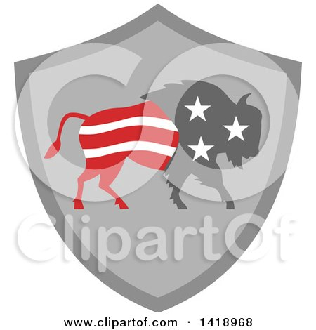 Clipart of a Retro American Stars and Stripes Buffalo in a Gray Shield - Royalty Free Vector Illustration by patrimonio