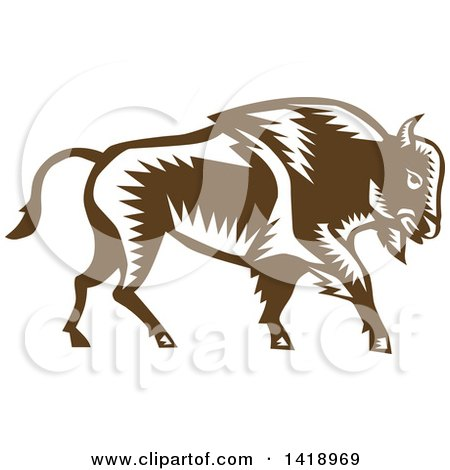 Clipart of a Retro Woodcut Buffalo Bison Walking - Royalty Free Vector Illustration by patrimonio