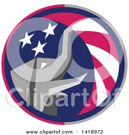 Clipart of a Retro Republican Elephant Spraying American Stars and Stripes in a Circle - Royalty Free Vector Illustration by patrimonio